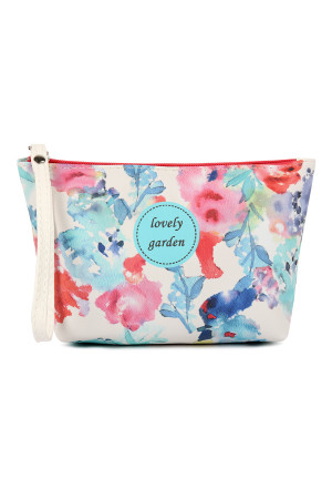 SA4-1-5-AHDG2276-6 LOVELY GARDEN WATERCOLORED WRISTLET COSMETIC BAG/6PCS