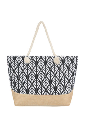 S1-1-6-AHDG2388BK BLACK LEAF SYMMETRY PATTERN TOTE BAG/6PCS