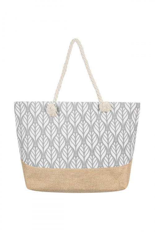 S7-5-1-AHDG2388GY GRAY LEAF SYMMETRY PATTERN TOTE BAG/6PCS