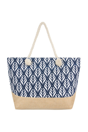 S5-5-5-AHDG2388NV NAVY LEAF SYMMETRY PATTERN TOTE BAG/6PCS