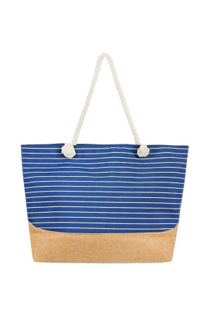 S3-5-1-AHDG2390NV NAVY HORIZONTAL STRIPE TOTE BAG/6PCS