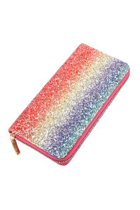 SA4-2-1-AHDG2394MT MULTI COLOR OMBRE GLITTERS SINGLE ZIPPER WALLET/6PCS