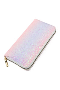 SA3-2-1-AHDG2394WT PINK OMBRE OMBRE GLITTERS SINGLE ZIPPER WALLET/6PCS