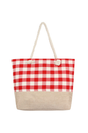 S6-4-5-AHDG2401RD RED STITCHED PLAID PATTERN TOTE BAG/6PCS