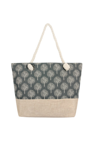 S7-4-5-AHDG2402GY GRAY PRINTED TREE PATTERN TOTE BAG/6PCS