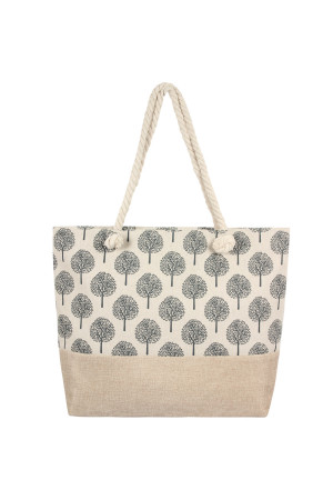 A1-1-5-AHDG2402WT WHITE PRINTED TREE PATTERN TOTE BAG/6PCS