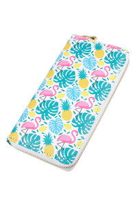 SA3-3-1-AHDG2412 FLAMINGO PINEAPPLE PRINT ZIPPER WALLET/6PCS