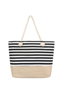 S7-5-5-AHDG2487BK BLACK HORIZONTAL STRIPE TOTE BAG/6PCS