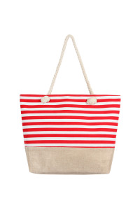 SA4-1-5-AHDG2487RD RED HORIZONTAL STRIPE TOTE BAG/6PCS