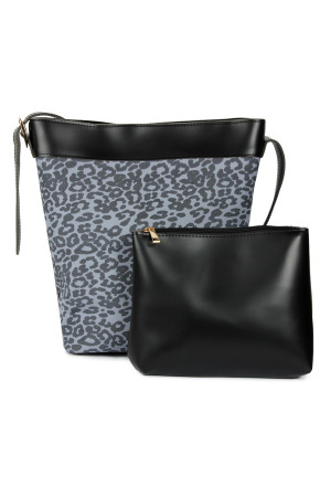 S7-4-5-AHDG2529BK BLACK LEOPARD LEATHER BAG WITH POUCH/3PCS