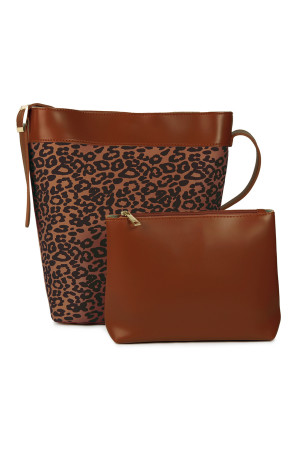 S5-5-1-AHDG2529BR BROWN LEOPARD LEATHER BAG WITH POUCH/3PCS