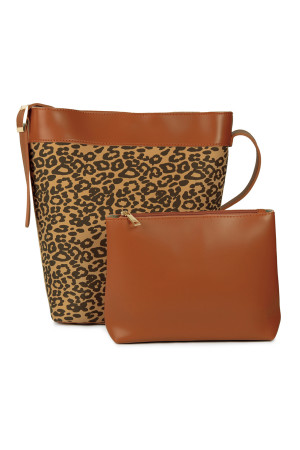 SA4-3-5-AHDG2529LBR LIGHT BROWN LEOPARD LEATHER BAG WITH POUCH/3PCS