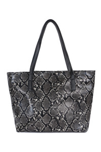 S4-5-1-AHDG2531BK BLACK PYTHON PRINT LEATHER TOTE BAG/3PCS