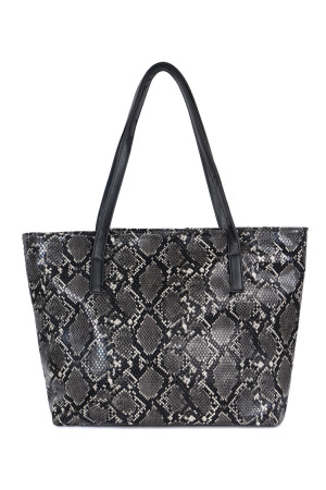 SA4-2-1-AHDG2531BK BLACK PYTHON PRINT LEATHER TOTE BAG/3PCS