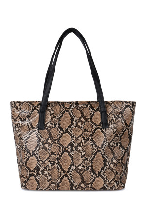 SA4-2-1-AHDG2531BR BROWN PYTHON PRINT LEATHER TOTE BAG/3PCS