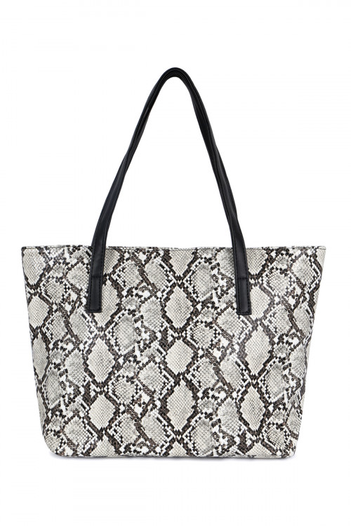 S4-5-1-AHDG2531WT WHITE PYTHON PRINT LEATHER TOTE BAG/3PCS