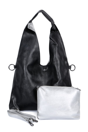S4-4-5-AHDG2532BK BLACK HOBO LEATHER BAG AND POUCH/6PCS