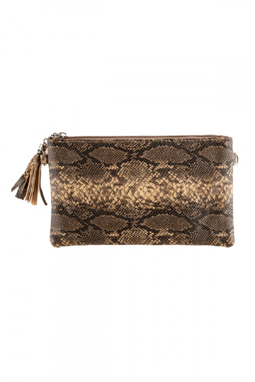 A3-3-1-AHDG2637LBR LIGHT BROWN SNAKE SKIN LEATHER CROSSBODY BAG/6PCS