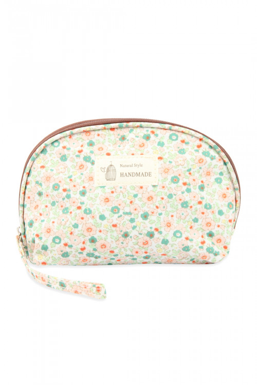 A3-3-5-AHDG2677-2 IVORY FLORAL PRINTED COSMETIC POUCH/6PCS