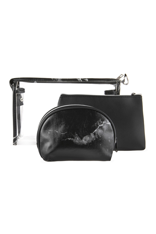 A2-3-1-AHDG2680BK BLACK CLEAR COSMETIC BAGS WITH 2 SETS OF LEATHER POUCHES/6PCS
