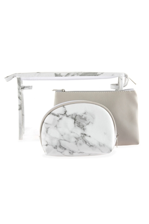 SA3-1-1-AHDG2680WT WHITE CLEAR COSMETIC BAGS WITH 2 SETS OF LEATHER POUCHES/6PCS