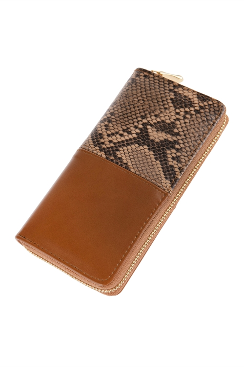 A2-2-1-AHDG2682BR BROWN HALF PRINTED SNAKE SKIN SINGLE ZIPPER LEATHER WALLET/6PCS
