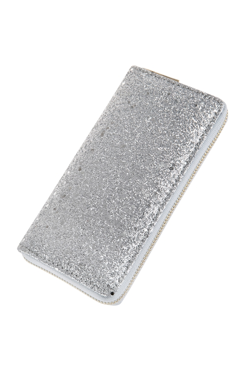 A2-2-1-AHDG2683S SILVER METALLIC COLORED LEATHER SINGLE ZIPPER WALLET/6PCS