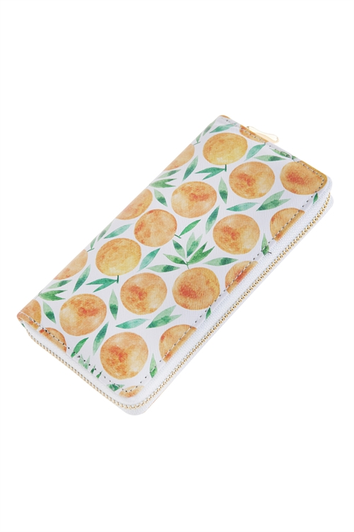 A3-3-1-AHDG2686-3 STYLE 3 FRUITS PRINTED ZIPPER WALLET - STYLE 3/6PCS