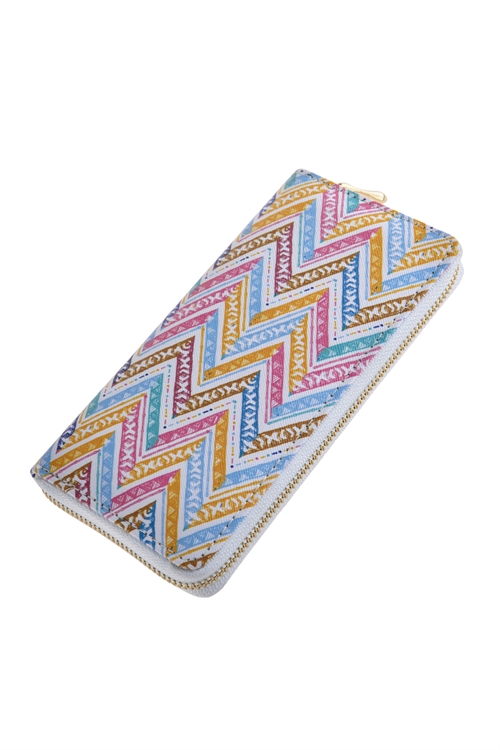 A2-2-1-AHDG2691 STYLE 1 CHEVRON PRINTED ZIPPER WALLET/6PCS
