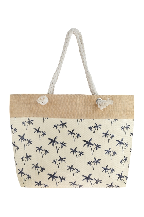 A3-3-5-AHDG2694NA NATURAL TREE STAMPED TOTE BAG/6PCS