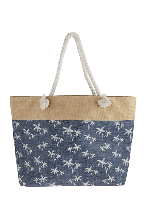 A3-2-5-AHDG2694NV NAVY TREE STAMPED TOTE BAG/6PCS