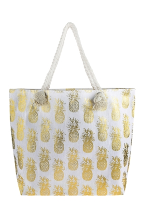 S3-5-1-AHDG2695GD GOLD METALLIC PINEAPPLE PRINTED TOTE BAG/6PCS