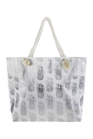 A3-2-5-AHDG2695SL SILVER METALLIC PINEAPPLE PRINTED TOTE BAG/6PCS
