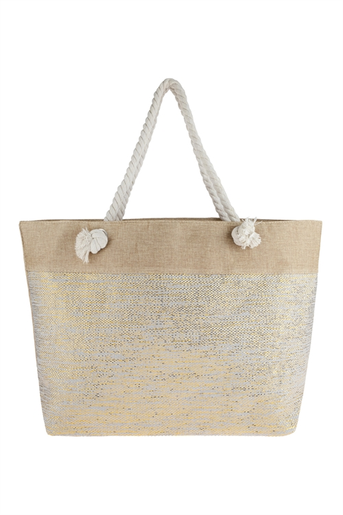 A1-1-5-AHDG2697GY GRAY METALLIC DESIGN WEAVED TOTE BAG/6PCS