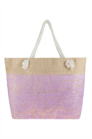 S6-4-5-AHDG2697LV LAVENDER METALLIC DESIGN WEAVED TOTE BAG/6PCS