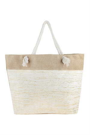 S3-5-1-AHDG2697NA NATURAL METALLIC DESIGN WEAVED TOTE BAG/6PCS