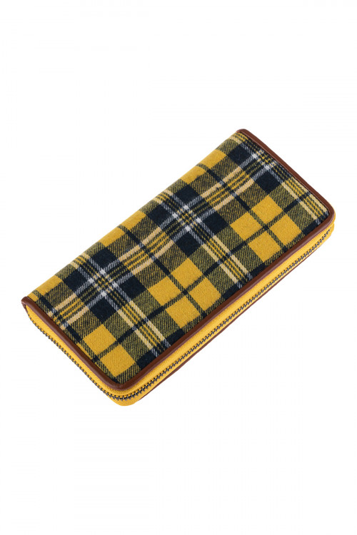 A2-1-1-AHDG2698YW YELLOW PLAID SINGLE ZIPPERED WALLET/6PCS