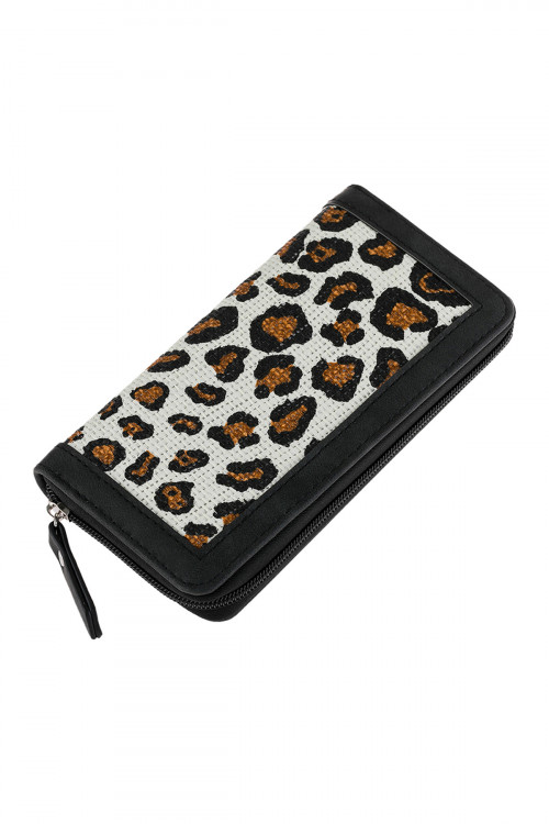 A2-1-1-AHDG2699WT WHITE ANIMAL PRINTED ZIPPERED WALLET/6PCS