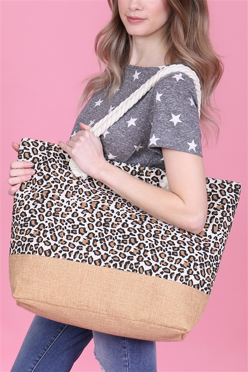 A1-1-5-AHDG2702BR BROWN LEOPARD PRINTED TOTE BAG/6PCS