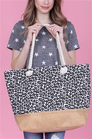 A1-1-5-AHDG2702WT WHITE LEOPARD PRINTED TOTE BAG/6PCS