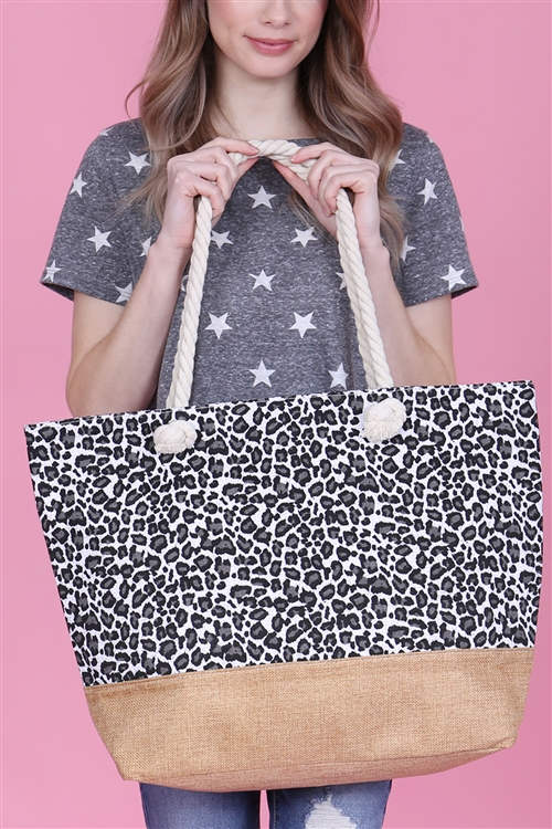 A1-2-1-AHDG2702WT WHITE LEOPARD PRINTED TOTE BAG/6PCS