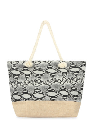 A3-1-1-AHDG2703GY WHITE SNAKE SKIN PRINTED TOTE BAG/6PCS