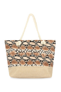 A1-2-1-AHDG2703LBR LIGHT BROWN SNAKE SKIN PRINTED TOTE BAG/6PCS