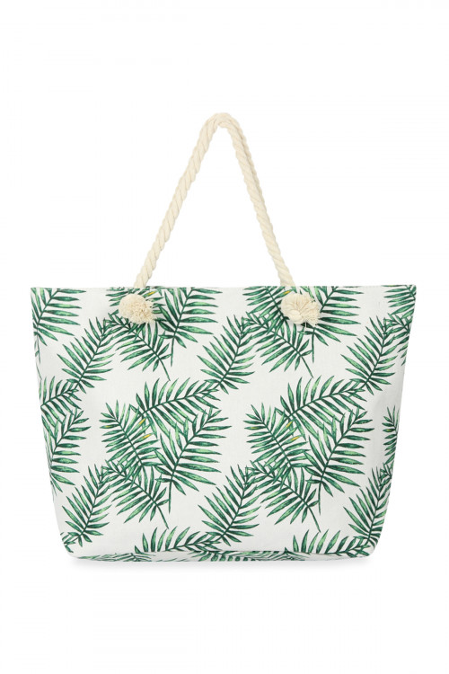 A1-1-5-AHDG2704WT WHITE LEAF PRINTED TOTE BAG/6PCS