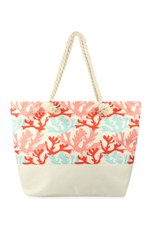 S3-5-2-AHDG2706WT WHITE CORALS PRINTED TOTE BAG/6PCS