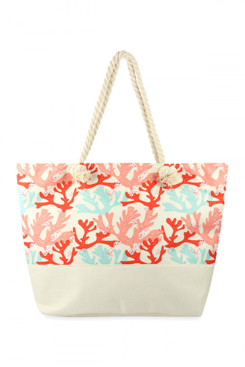 A1-2-1-AHDG2706WT WHITE CORALS PRINTED TOTE BAG/6PCS