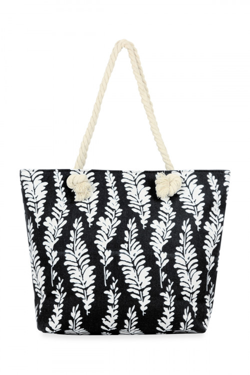 A3-2-1-AHDG2707BK BLACK SEA WEEDS PRINTED TOTE BAG/6PCS