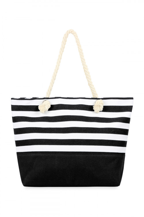 A3-3-1-AHDG2708BK BLACK STRIPED TOTE BAG/6PCS