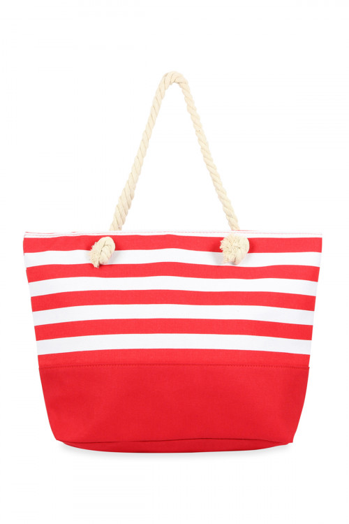A3-1-1-AHDG2708RD RED STRIPED TOTE BAG/6PCS
