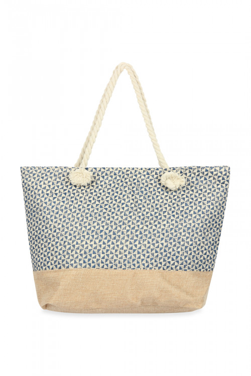 A3-1-1-AHDG2711BL BLUE GEOMETRICAL PATTERN TOTE BAG/6PCS